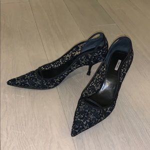 Miu Miu black lace pumps
